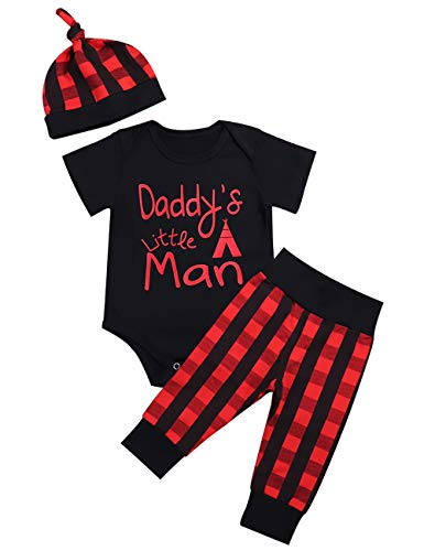 Baby Boys Girls Clothes Daddy's Little Man Print Bodysuit Outfits Clothes Set with Hat (0-3 Months)