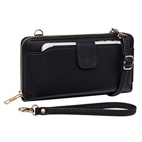 Womens Wristlet Wallet Crossbody Bag Cellphone Purse Handbag RFID Card Slots 2 Strap Wrist, Black, 8.34.31.4