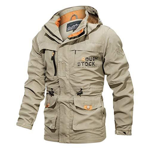 Vintage Warme Jacke Herren, ABsoar wasserdichte Jacke Militär Outwear Mantel mit Multi-Pocket Mode Hoodie Pure Farbe Biker Motorradjacke Winddicht Lederjacke Männer Kapuzenjacke Hoodies
