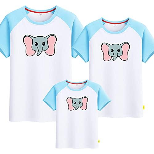 SANDA T-Shirt Niña,Pequeño Elefante Padre-Niño Vestido de Verano Nuevo Manga Corta Mejoras para el hogar Completo Patrón-niño Camiseta-Azul Blanco_Mamá 2XL