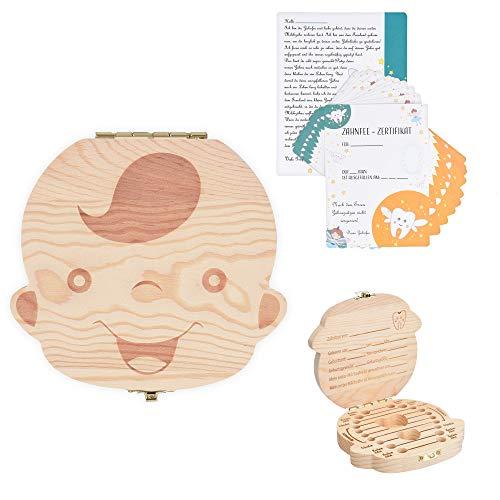 Navaris Zahnbox Holz Junge mit Zahnfee Urkunde - Milchzahndose Brief Vorlage - Aufbewahrung Zahn Geburtsband Locke - Kinder Baby Milchzähne Box