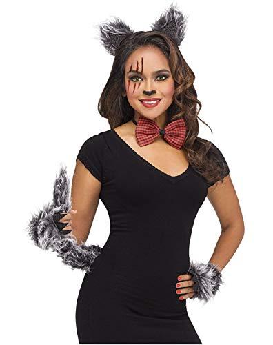 shoperama Juego de 4 accesorios para disfraz de lobo con orejas, calentadores de manos de piel sinttica, color gris, pajarita a cuadros