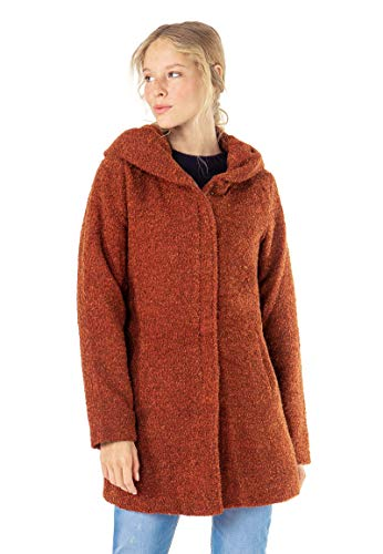Sublevel Damen Winter-Mantel mit Kapuze aus Woll-Mix red M