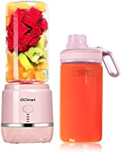 iOCSmart Portable Personal Size Blender, USB Rechargeable Smart Mini Juicer Blender for Fruits Smoothie Milk Shakes Baby Food with 2 Juicer Cup, High Borosilicate Glass, 4000mAh High Capacity Batteries (Pink)
