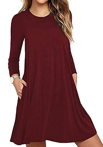 OMZIN Vestido de manga larga para mujer, estilo informal, para invierno, cuello redondo, monocolor, línea A, con bolsillo, tallas S-XXL Rojo vino. S