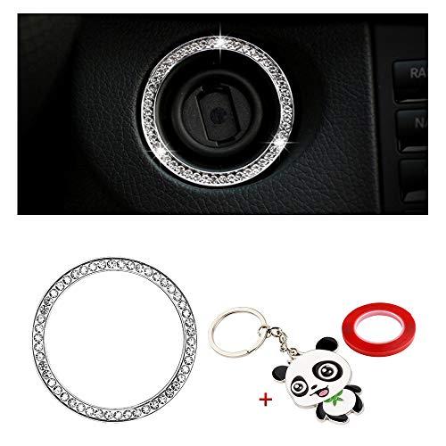 BLINGOOSE Adhesivos decorativos Bling para accesorios Mercedes Benz tapa decorativa central con logotipo de coche de cristal adhesivos brillantes 3D carcasa plateada (Mers-1ring)