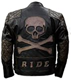 Vicenzia Leather Brando Skull Ride Vintage & Distressed Biker Pelle Giacca Halloween Nero XS