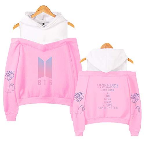 EMPERSTAR BTS Crop Top Off Shoulderhoodies Top K Pop V Fashion K Pop Bear Sweatshirt Sweatshirt Unisex Clothes XS Pink