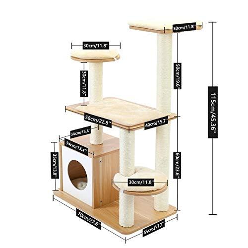 YSJSPKK Árbol para Gatos Gato Torre árbol de Juguete rascadores for la Escalada del Gato de Madera de árbol de Salto del Gato del Gato de Muebles House Condo Nido (Color : AMT0045BG, Size : L)