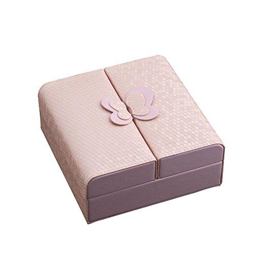 Joyero de cuero para almacenamiento de pendientes, collares, pulseras y más, de marca Uniqueen