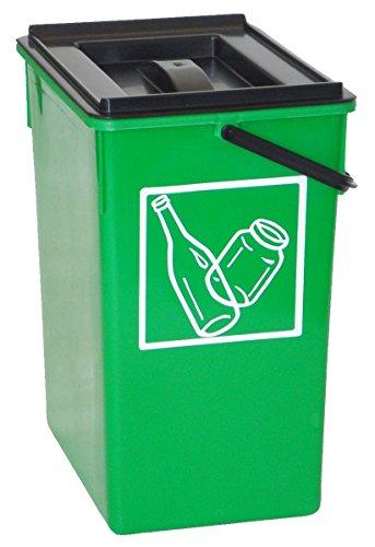 Cubo basura Reciclar verde 20X28X34 C/Asa y tapa
