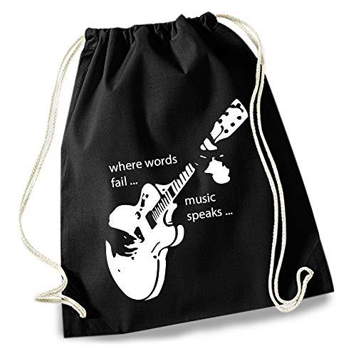 HAPPY FREAKS Turnbeutel/Stoff-Rucksack mit Sprüchen - Design-Gymbag für Konzert, Schule, Freizeit und Einkauf (Gitarre)