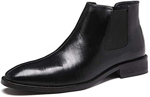 LXF JIAJU Zapatos de Hombre Bota De Caña Chelsea Botas for Hombres, Tirar De Cuero Genuino Zapatos De Punta Estrecha, De 3 Cm De Tacón Elástico Lados Zapatos De Charol (Interior De Polar Opcional)