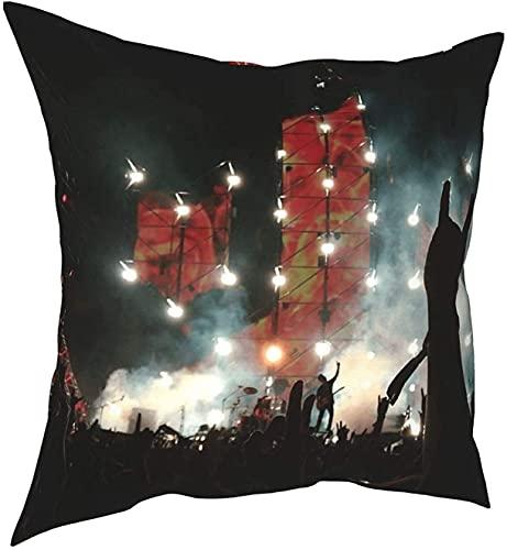 Funda de almohada cuadrada para tapiz de concierto, diseño de banda de rock, 45 x 45 cm
