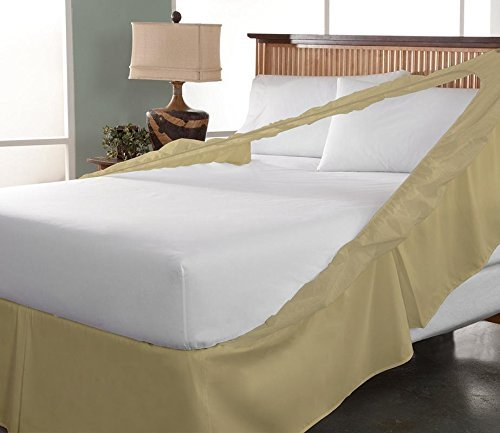 Threads Collection 1000 Thread Count - Wrinkle & Fade Resistant - Egyptian Quality Three Fabric Sides Easy On/Easy Off Wrap Around Elastic Bed Skirt with 18-inch Drop - King - Taupe