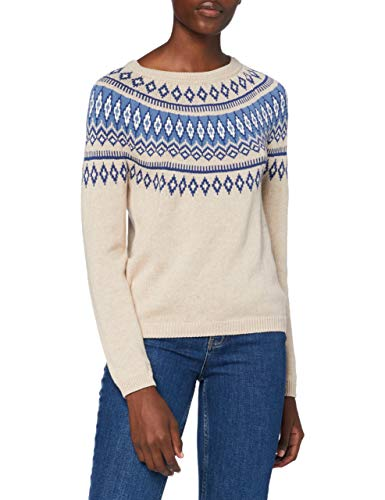 Springfield Jersey Jacquard Cenefas Azules Pullover Sweater, Beige, XS Womens