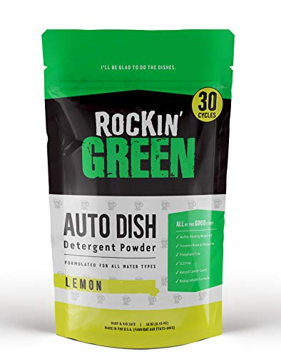 Rockin' Green Auto Dish Detergent Powder | Lemon Scent 16oz (Up To 30 Loads) | All-Natural and Phosphate-Free | Non-Toxic Dishwasher Detergent Powder | Eco-friendly and Biodegradable Dishwashing Soap