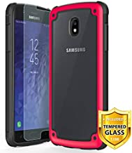 TJS Case for Samsung Galaxy J3 2018/J3 V 2018/Express Prime 3/J3 Star/J3 Orbit/J3 Achieve/J3 Prime 2/Amp Prime 3/Sol 3, with [Tempered Glass Screen Protector] Transparent Shockproof Case (Red)
