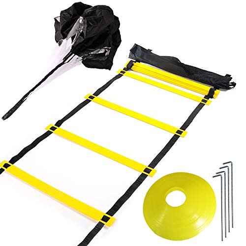 Huvai Agility Ladder 20ft 12 Rung Agility Training Ladder Speed for Soccer, Speed, Football Fitness Feet Training with A Resistance Parachute, 12 Yellow Disc Cones, 1 Carry Bag