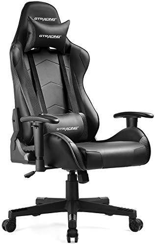 Gtracing Gaming Chair Racing Office Computer Ergonomic Video Game Chair Backrest and Seat Height Adjustable Swivel Recliner with Headrest and Lumbar Pillow Esports Chair,Black