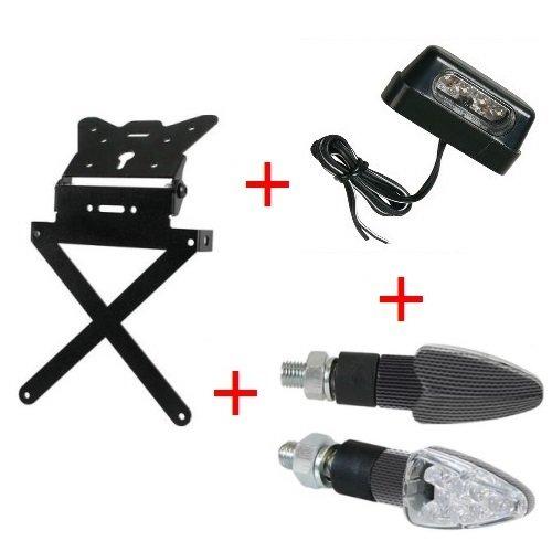 Compatibel met GAS EC 250 H kit voor fietsendragers van aluminium, universeel inzetbaar voor MOTO+1 paar led-knipperlichten CARBON LOOK+ LUCE TUTTO met aluminium look + LAMP
