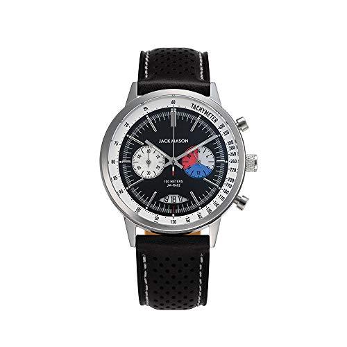 Jack Mason Racing Chronograph Stainless Steel Black Dial Black Perf Strap JM-R402-003