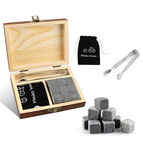 Rpanle Whisky Piedras (9 Cubitos), Piedras de Whisky hechas de Granito para Enfriar Bebidas, Libre de Sabores y Olores, Reutilizables, Ideal para Bar, Fiestas, Regalos para Hombres