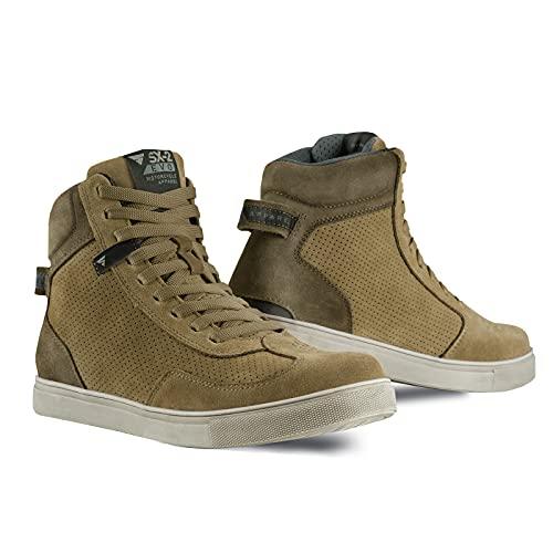SHIMA SX-2 EVO Botas Moto Hombre - Zapatillas Moto de Cuero, Transpirables, Reforzados con Soporte el Tobillo, Suela Antideslizante, Almohadilla el Engranaje