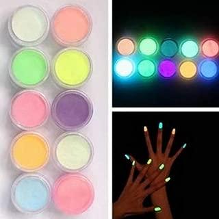 Acamifashion 10 Pcs Noctilucent Nail Glitter Powder Glowing Nail Art DIY Fluorescent Acrylic Powder