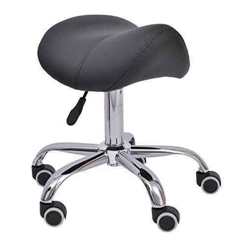 Tabouret de massage tabouret selle ergonomique pivotant 360° hauteur réglable simili cuir noir chromé