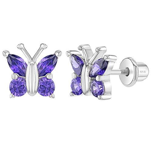 In Season Jewelry Plata Fina 925 Pendientes con Cierre de Rosca en Forma de Mariposa Morada con...