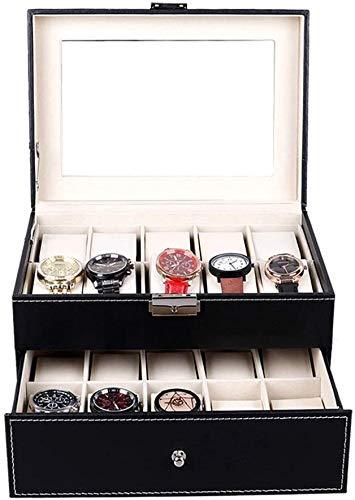 Caja de almacenamiento para relojes con tapa de cristal, caja de doble reloj para joyas y collares (color: negro, medidas: 29 x 20,5 x 15,8 cm) (color: negro, tamaño: 29 x 20,5 x 15,8 cm)
