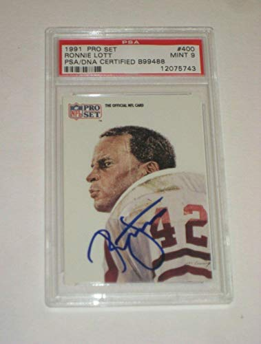 RONNIE LOTT (49ers) Signed 1991 PRO SET Card #400 PSA Certified MINT 9 - NFL Autographed Football Cards