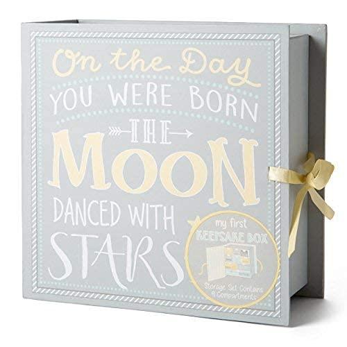Baby Milestone Keepsake Storage Box by Votum: Track Treasured Memories, 9 Sections – 9 x 3.5 x 9 – Moon & Stars