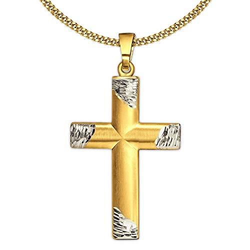 Clever Schmuck - Juego de colgante de cruz dorada, 24 x 15 mm, bicolor, semicircular, con extremos redondeados, oro 333 de 8 quilates y cadena chapada en oro de 45 cm