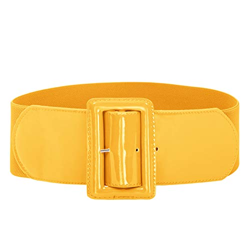Women Wide Elastic Plus Size Dress Belt Waist Belts Stretch Waistband Yellow 4XL