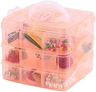 BITE KITE Ornaments storage Box Plastic Organizer With 3 Layer 18 Grid For Jewelry, Thread Reel Storage Transparent Plasti...