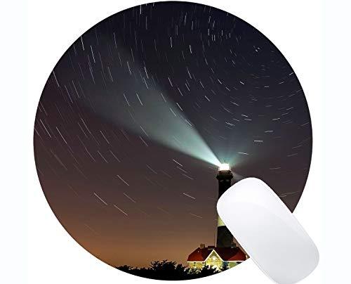 Yanteng Naturkautschuk Runde Mauspad Bedruckt mit Sky-Zeitraffer-Fotografie-Architektur - Genähte Kanten