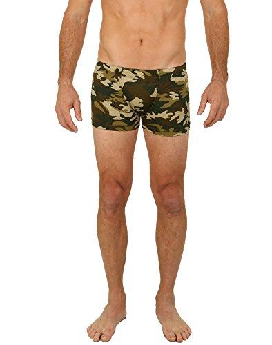 UZZI Men's Camo Bike Briefs Swimwear Olive (Large)