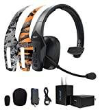 BlueParrott B550-XT Voice Controlled Bluetooth Headset Bundle with 2-Pack of MightySkins Removable Decal Stickers (Orange Tree Camo and Viper Urban), and Blucoil USB Wall Adapter
