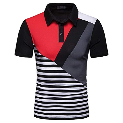 MENHG Men's Contrast Striped Slim Fit Lapel Short Sleeve T-Shirt Vintage Style Polo Shirts Classic Buttons Wicking Quick Dry Sweatshirts Golf Tennis Cool Shirt Comfortable Cotton Summer Tee Blouse Top