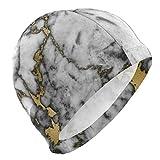 KIMIOE Schwimmhaube Badekappe Hipster Black Gold Marble Lycra 3D Ergonomic Design Swim Cap Swimming