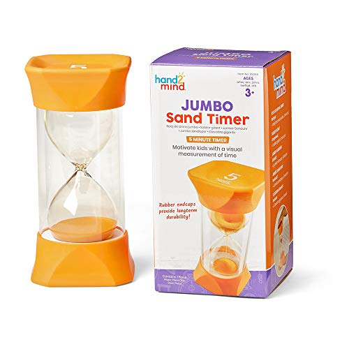 hand2mind Orange Jumbo Sand Timers, 5 Minute Sand Timer, Hourglass Sand Timer with Soft Rubber End Caps Offers Quiet Pausing, Classroom Sand Timers for Kids, Teeth Brushing and Game Timer (Set of 1)