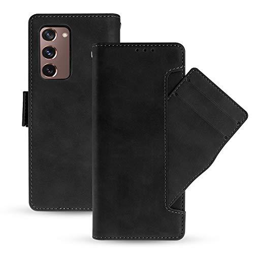 NEWZEROL Ledertasche für Samsung Galaxy Z Fold2 5G Hülle Leder [rutschfest] [Kratzfest] [Kartensteckplätzen] Multi Karten Steckplatz, Flip Hülle Lederfaserschutz Stoßdämpfer Handyhülle Fold2- Schwarz