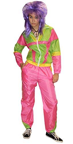 Foxxeo Pinkes 80er Jahre Trainingsanzug Kostüm für Damen - Größe S-XXL - Fasching Karneval Bad Taste Motto Party - Größe XXL