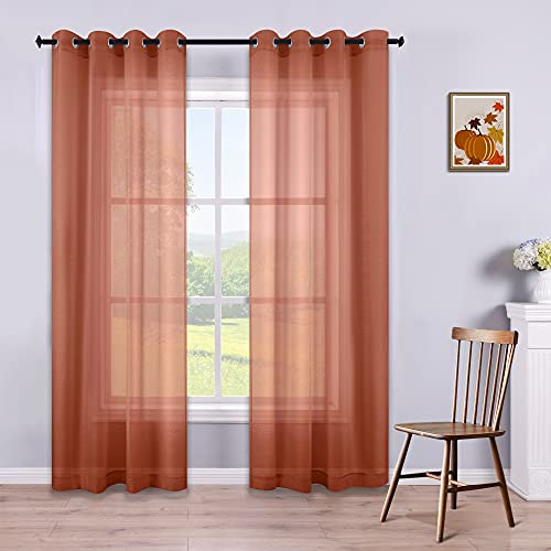Terracotta Curtains 84 Inch Length for Living Room Set of 2 Panels Window Sheer Curtain Panels for Bedroom 52x84 Inches Long Rust