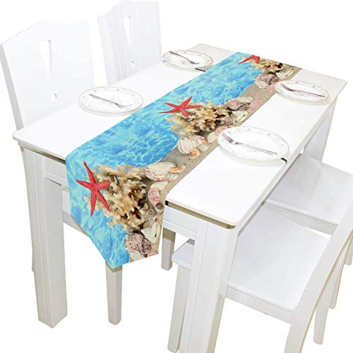Wedding 13x90 inches Long Table Runner Ocean Beach Seashell Starfish Decorative Polyester Table Runners Tablelcoth for Home Coffee Kitchen Dining Table Party Banquet Holiday Decoration