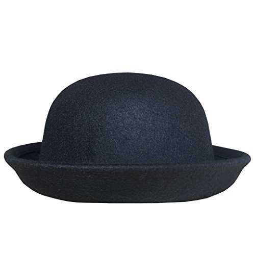 Lujuny Classic Wool Round Bowler Hats - Trendy Derby Fedora Bucket Caps with Roll-up Brim for Youth Petite (Black)
