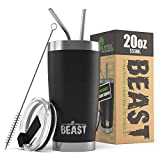 BEAST 20oz Black Tumbler - Insulated Stainless Steel Coffee Cup with Lid, 2 Straws, Brush & Gift Box