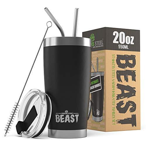BEAST Edelstahl Becher Vakuumisolierte Tasse Kaffeebecher Doppelwandige Reiseflasche Thermobecher mit Spritzfestem Deckel, Paket mit 2 Strohhalmen, Rohrbürste & Geschenkbox (20oz, Schwarz)